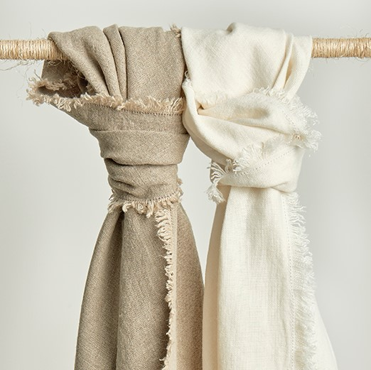 Rustic Linen Throws Natural and Ivory