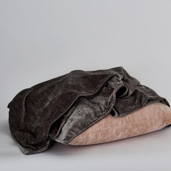Brooklyn Charcoal Throw with Brooklyn Blush Decorative Pillow