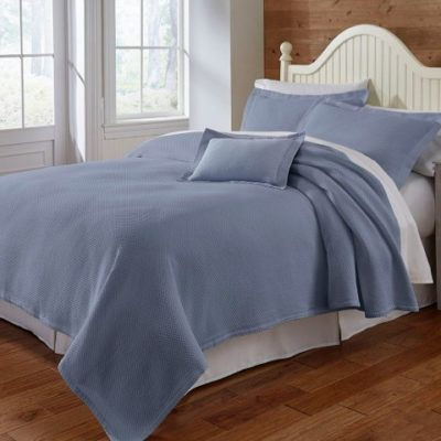 Blair Celestial Blue Coverlet on Bed2