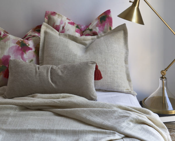 Buck Ivory Duvet and Sham paired with Digby Blush Shams and Brooklyn Blush Pillow with Pink Tassel