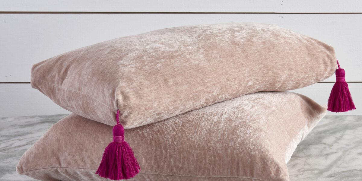 Brooklyn Blush Decorative Pillows - Lumbar with Pink Tassel