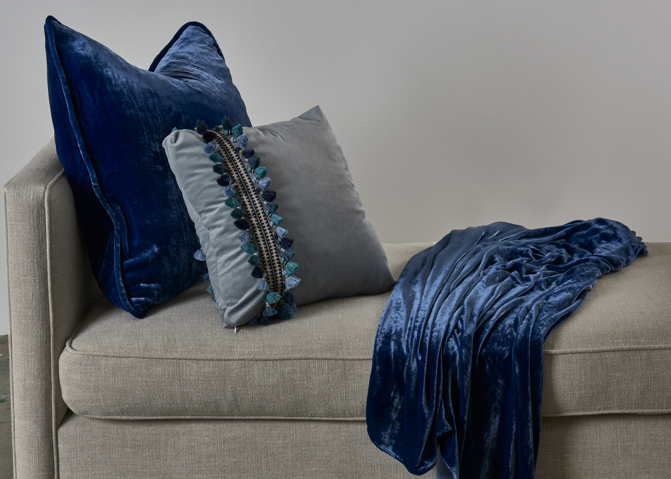Vintage Velvet Throw and Corded Euro - Cobalt with Como Blue Tassel 18x18 with Navy Tassel