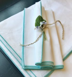 Dune Napkins and Tablecloth White with Teal