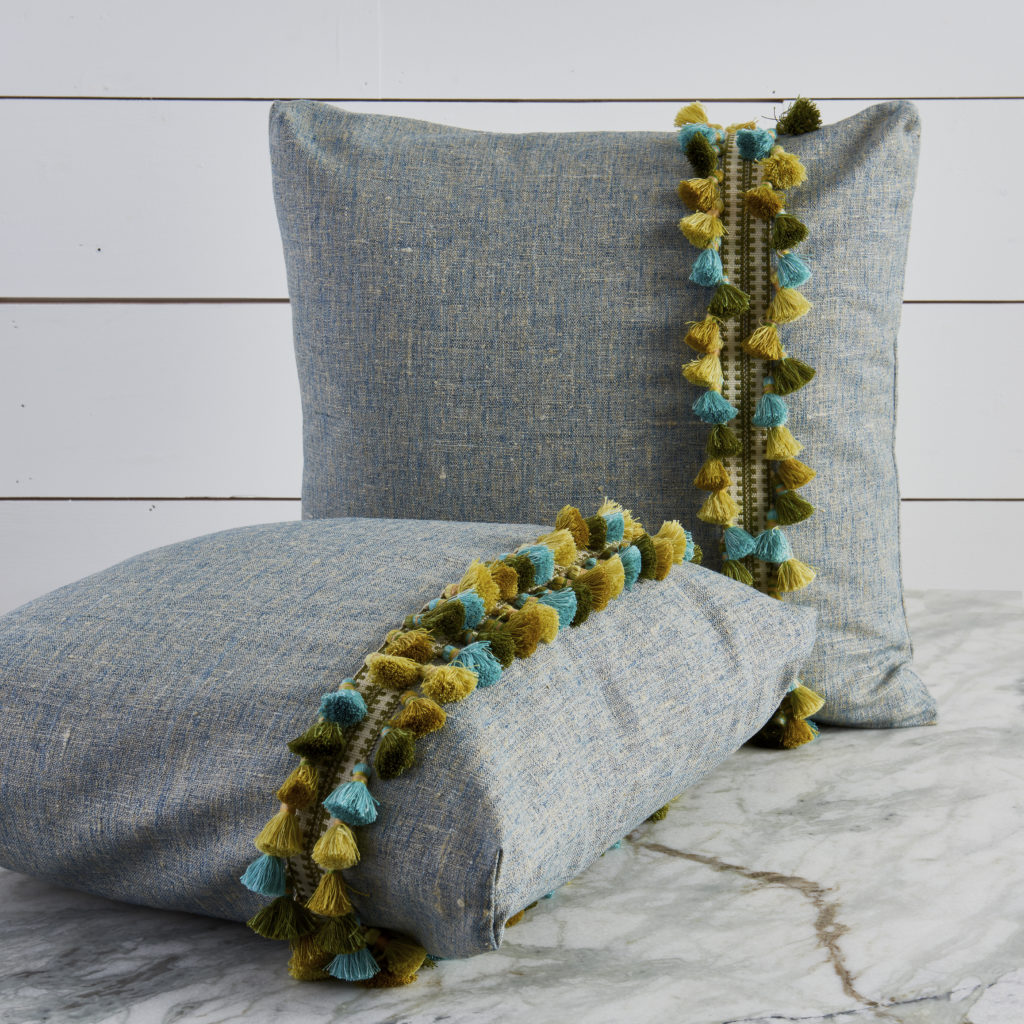 Noah Atlantic Decorative Pillows with Green Tassel