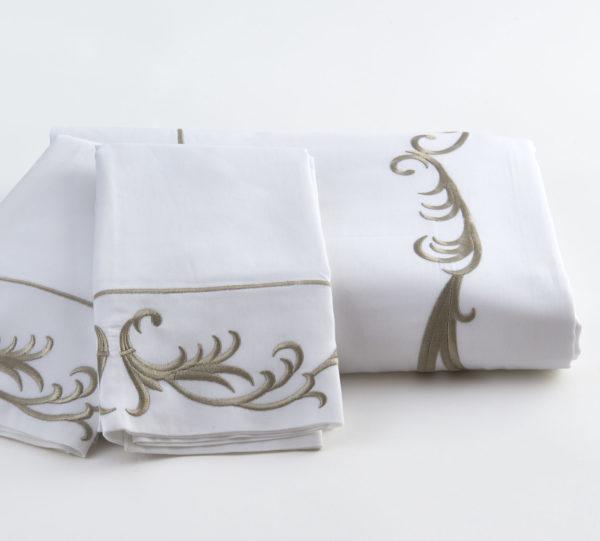 Teara Sheet Set White Taupe