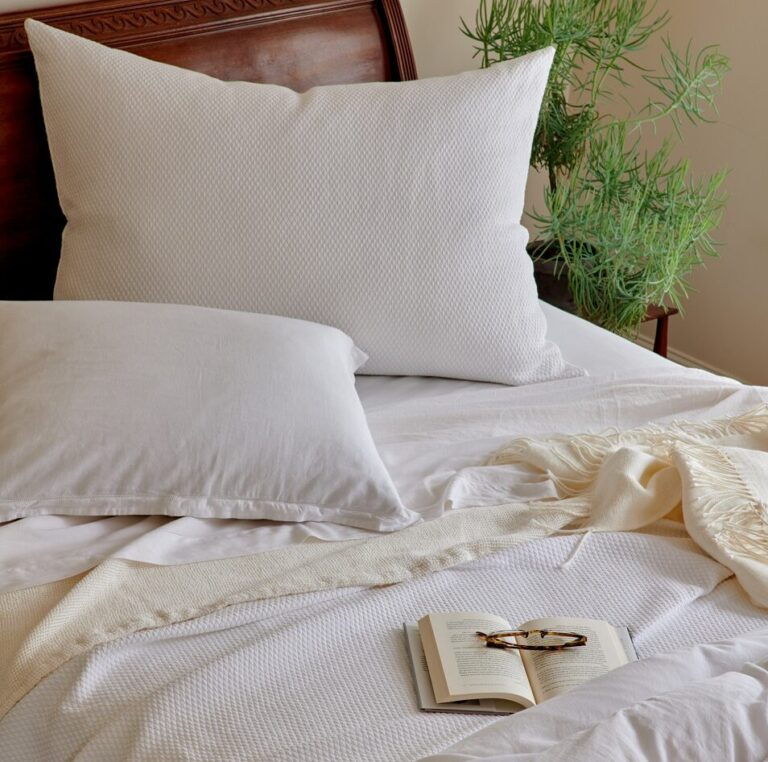Blair White on bed with Florence Sheets and Duvet Sacha Ivory and Sylvan Ivory