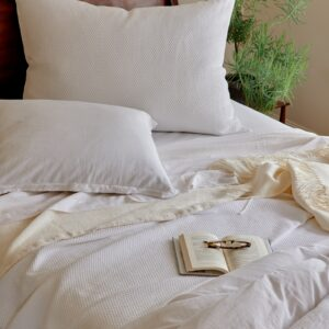 Florence Sheets and Duvet on bed with Blair White Sacha Ivory and Sylvan Ivory