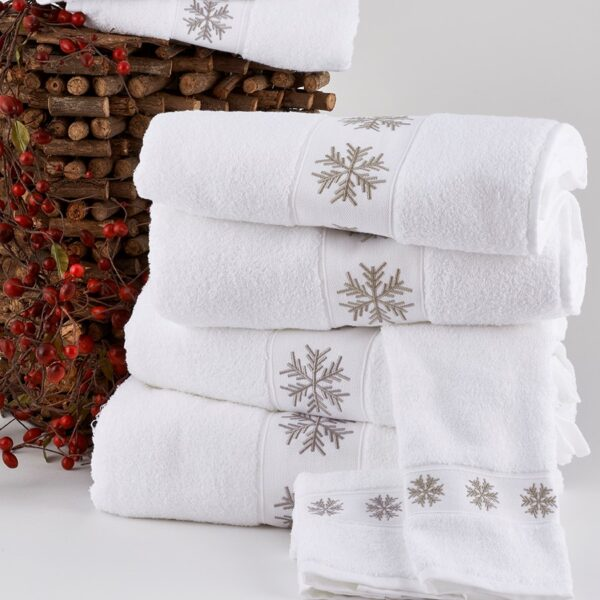 Snowflake Towels in Taupe and Gray